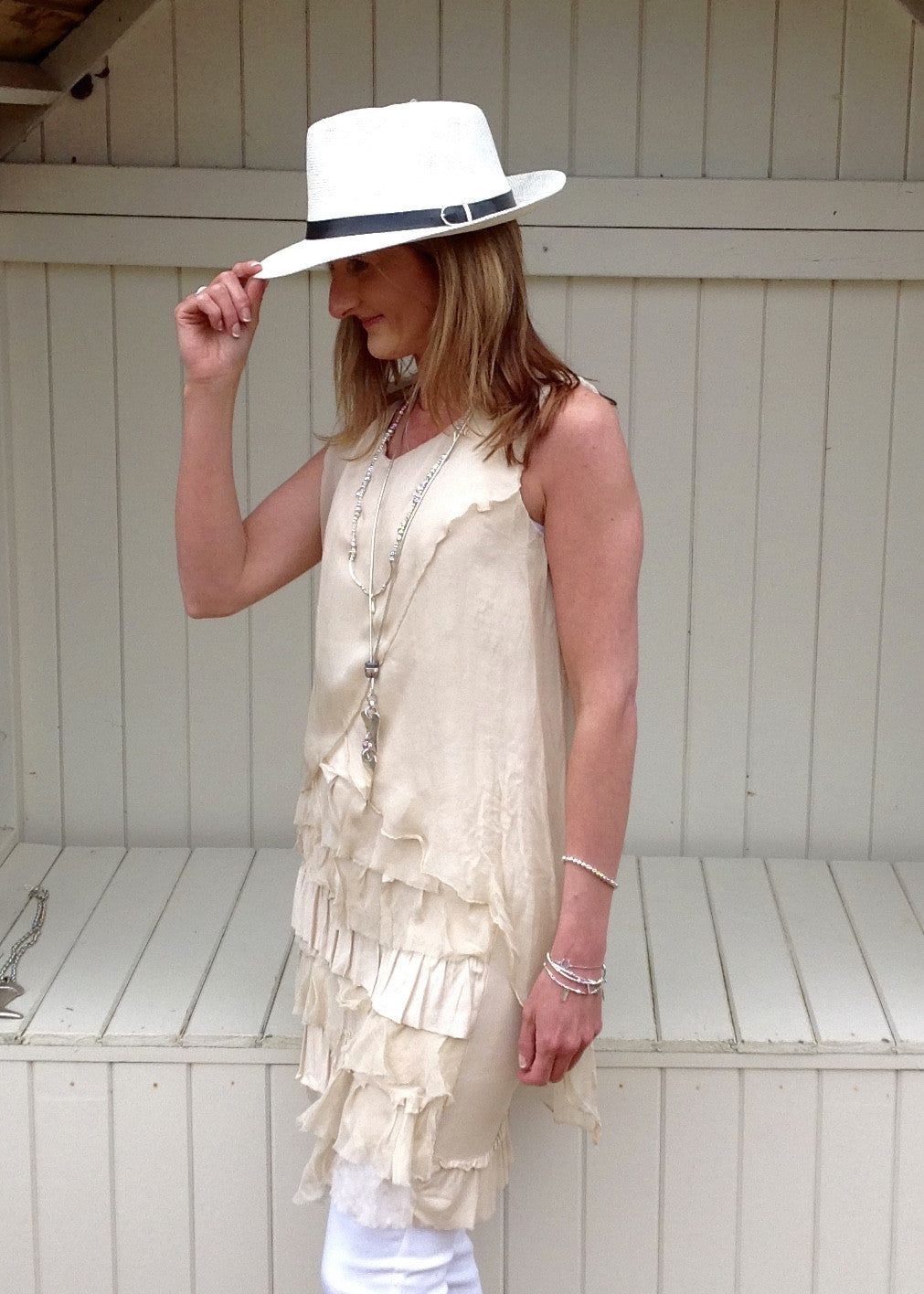 Emilia Silk Ruffle Dress in Cream Made In Italy By Feathers Of Italy One Size - Feathers Of Italy
