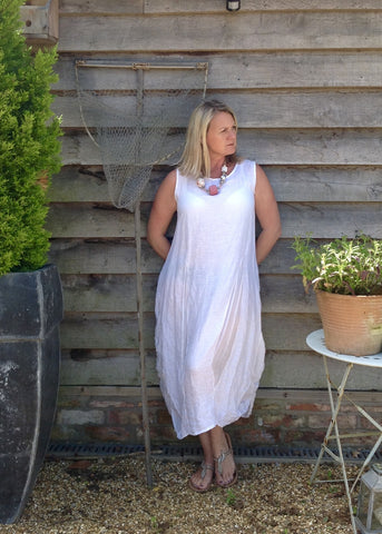 Garda Linen Long Dress - Feathers Of Italy