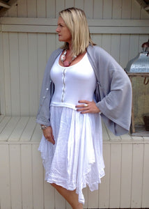 Jeroma Linen and Jersey Dress - Feathers Of Italy