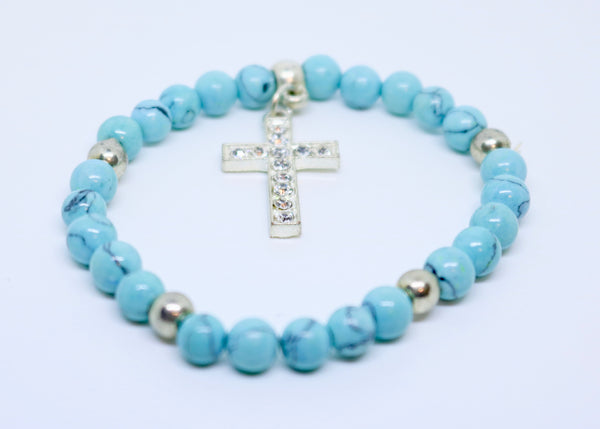 Limited Edition Precious Turquoise Stone and Diamond Encrusted Cross Bracelet - By Feathers Of Italy - Feathers Of Italy