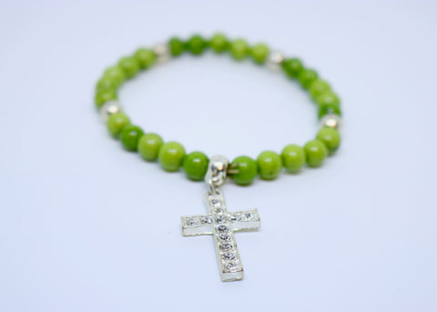 Limited Edition Precious Green Stone and Diamond Encrusted Cross Bracelet - By Feathers Of Italy - Feathers Of Italy
