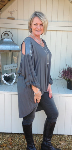 Abruzzo Sequin Top Soft in Charcoal - Feathers Of Italy