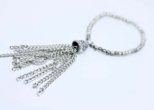 Tassel Bracelet silver coloured With Small Beaded One Size Fit By Feathers Of Italy