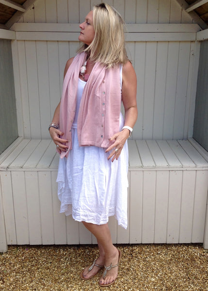 Sicily Five Way Poncho in Pink - Feathers Of Italy