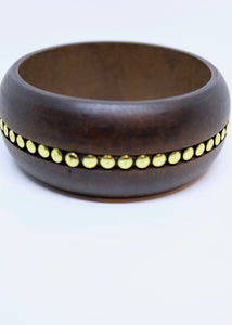 Real Wood Bangle With Gold Spot Metal Detail Inlaid - By Feathers Of Italy