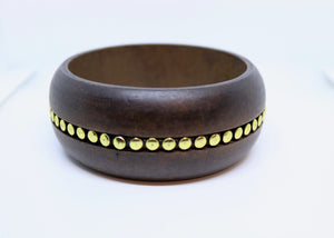 Real Wood Bangle With Gold Spot Metal Detail Inlaid - By Feathers Of Italy - Feathers Of Italy