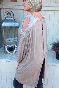 Abruzzo Sequin Top in Soft Beige - Feathers Of Italy