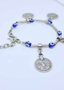 Turkish Eye and Coin Bracelet - Turkish Designer - Feathers Of Italy