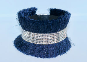 Bari Fringe Diamante Encrusted Cuff Bracelet in Navy - Feathers Of Italy - Feathers Of Italy