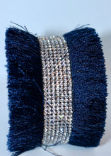 Load image into Gallery viewer, Bari Fringe Diamante Encrusted Cuff Bracelet in Navy - Feathers Of Italy - Feathers Of Italy