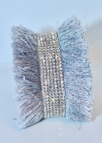 Bari Fringe Diamante Encrusted Cuff Bracelet in Silver - Feathers Of Italy - Feathers Of Italy