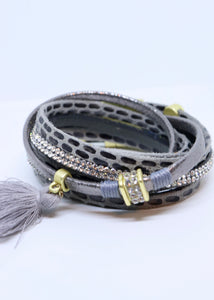 Snake Print and Diamond Double Wrap Bracelet in Grey With a Cotton Tassel by Feathers Of Italy