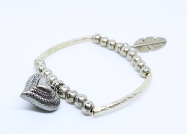 Limited Edition Silver Coloured Heart and Feather Bracelet - By Feathers Of Italy - Feathers Of Italy