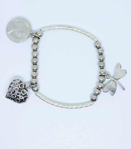 Limited Edition Silver Coloured Patterned Heart, Coin and Dragonfly Bracelet - By Feathers Of Italy - Feathers Of Italy