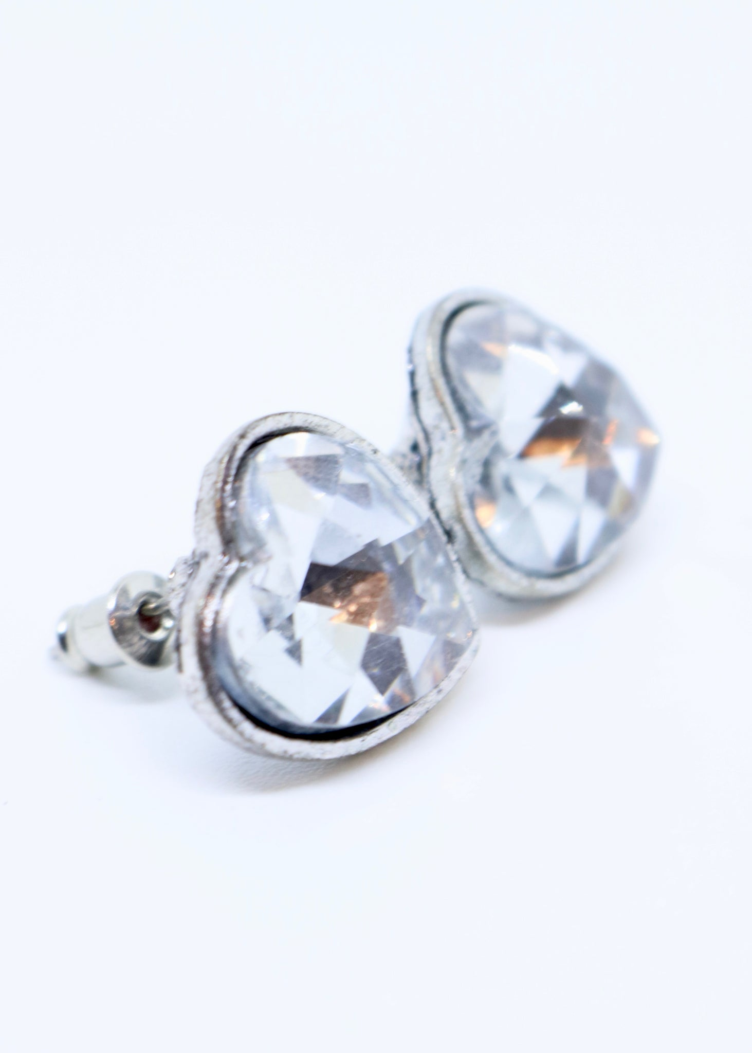 Limited Edition Heart Shaped Stone Earrings Silver Coloured - By Feathers Of Italy - Feathers Of Italy
