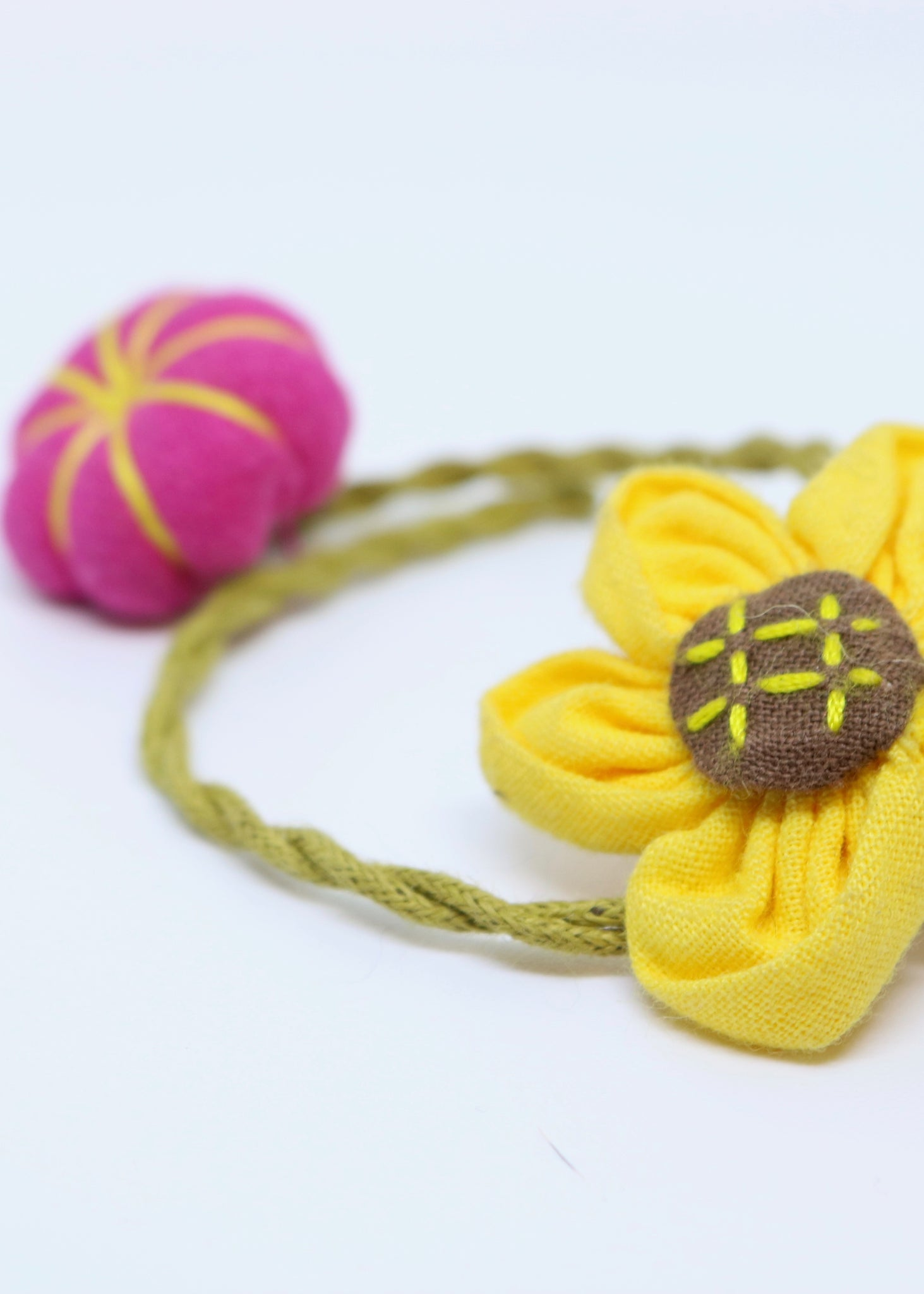 Children's hand made sunflower and pink pumpkin string Bracelet - By Feathers Of Italy - Feathers Of Italy