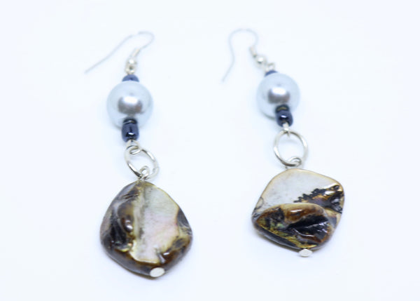 Mother Of Pearl and Shell Earrings Pierced Ears  - Feathers Of Italy - Feathers Of Italy