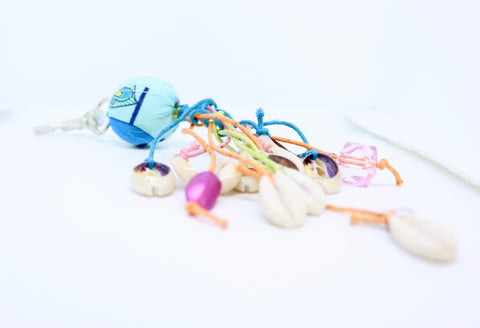 Shell and Ball Brightly Coloured Key Ring  - by Feathers Of Italy