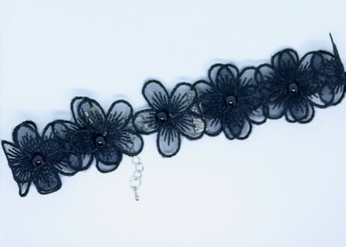 Daisy Chain and Beaded Black Choker - By Feathers Of Italy - Feathers Of Italy