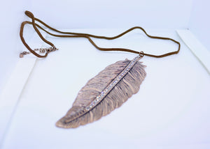 Copper Feather with Diamonte detail on a Suedette Cord Necklace - By Feathers Of Italy - Feathers Of Italy