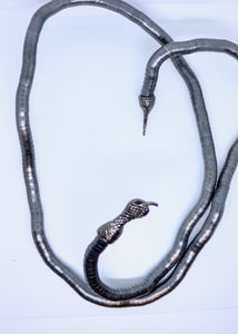 Bendy Snake Necklace or Bracelet in Gunmetal Grey - Feathers Of Italy - Feathers Of Italy