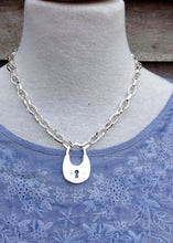Load image into Gallery viewer, Silver Choker Lock Detail Necklace - Feathers Of Italy