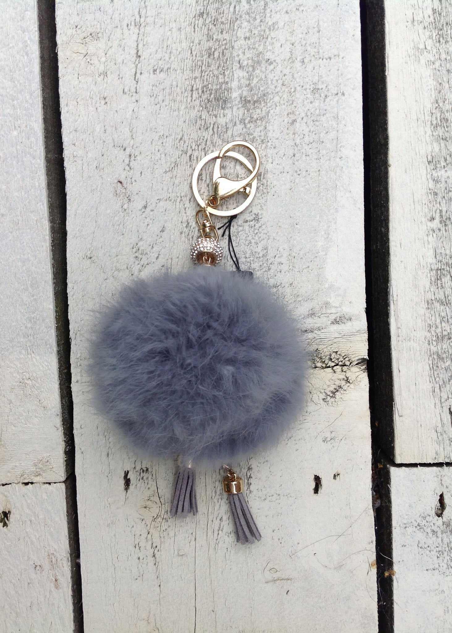 Fur Key Ring in Grey - Feathers Of Italy