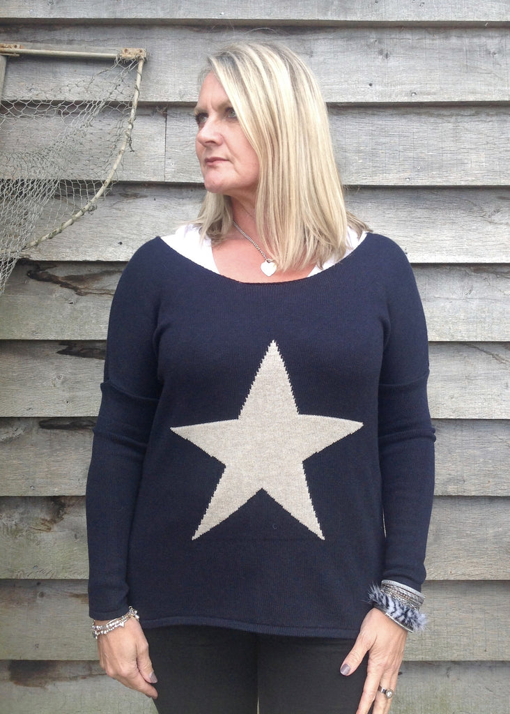 ... Star Knit Jumper In Navy - Feathers Of Italy ... 1188cf3d38a4