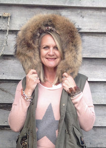 Fur Hood Parker Gilet with sequinned detail in Green - Feathers Of Italy