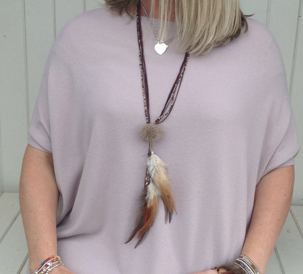 Faleria Feather and Pom Pom Necklace in 3 colours - Feathers Of Italy