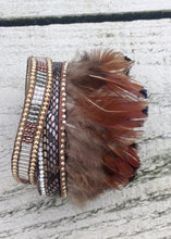 Load image into Gallery viewer, Fermignano Feather and Bead Bracelet in Grey - Feathers Of Italy