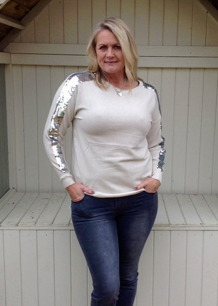 Sebastiano Seqined Jumper in Winter Cream - Feathers Of Italy