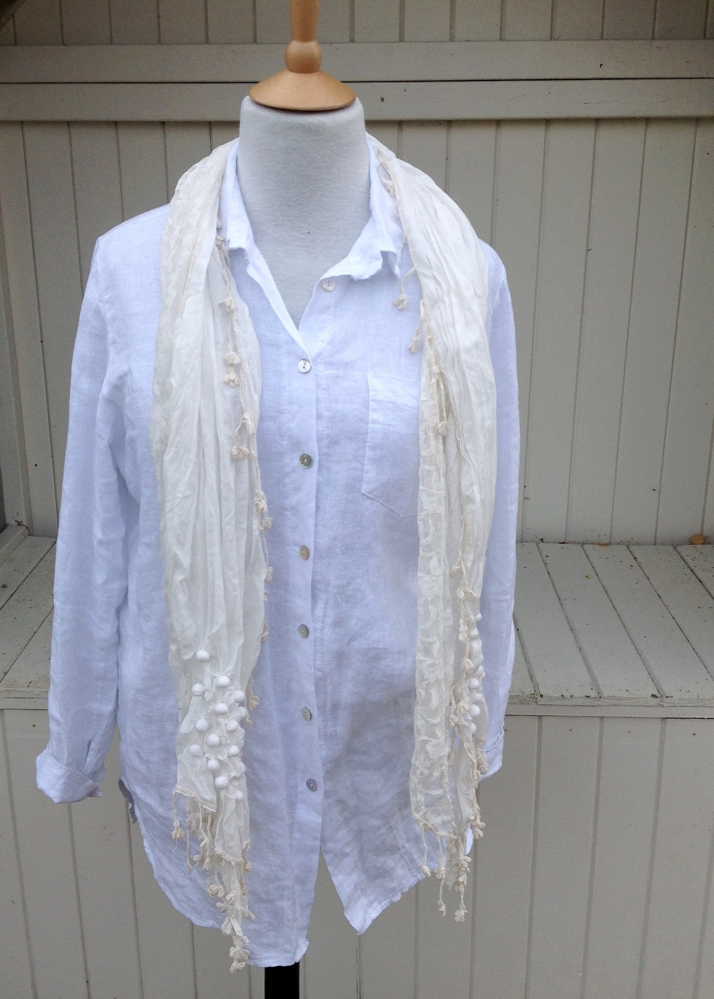 Licata Scarf in Cream - Feathers Of Italy