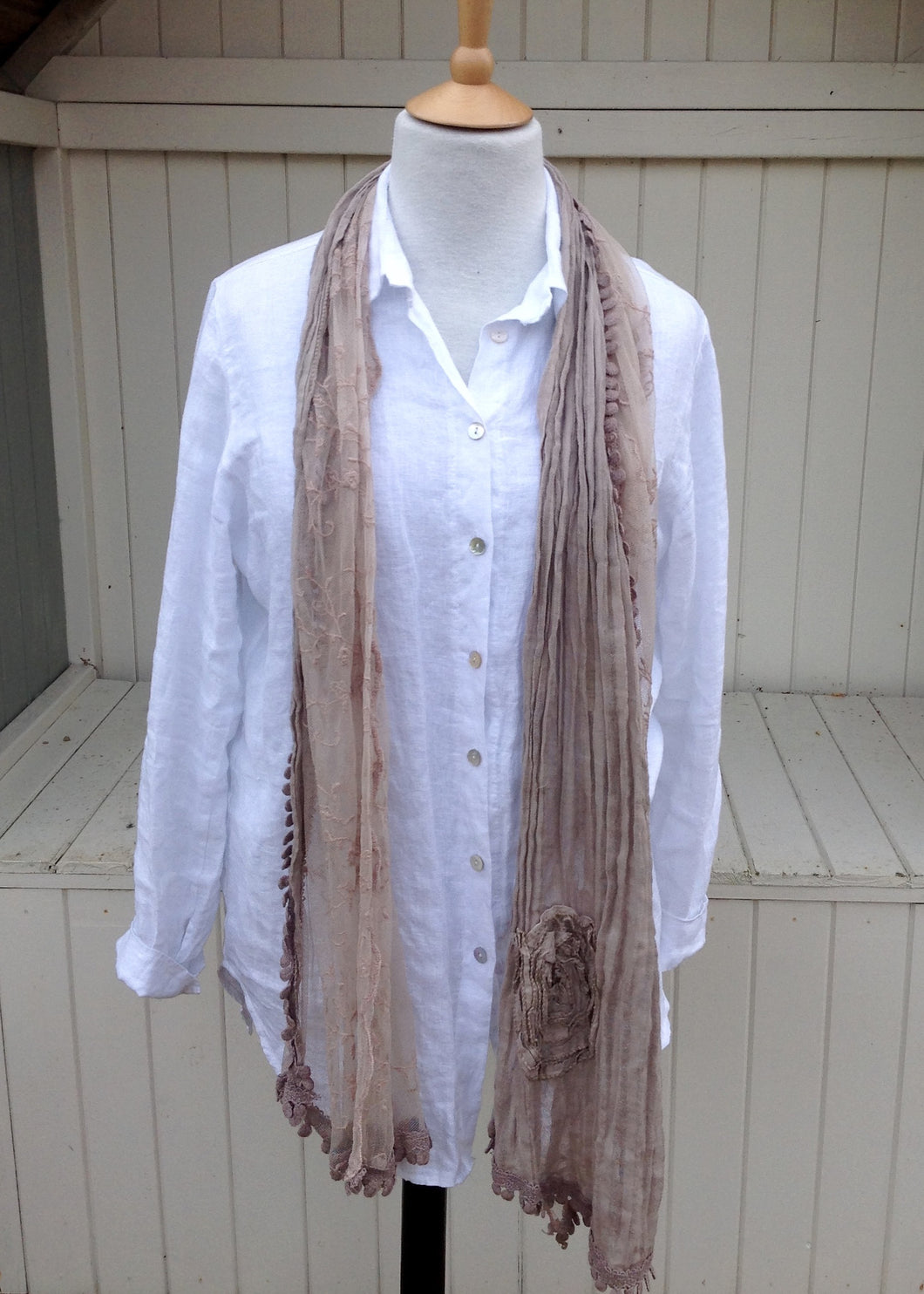 Bettola Scarf in Mocha - Feathers Of Italy