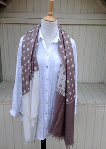 Dotted Luxury Italian Scarf in Mocha - Feathers Of Italy