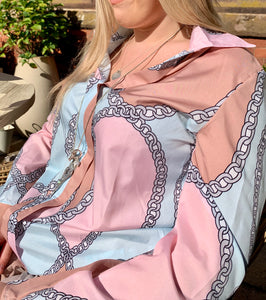 Polignano Ladies Chain Print Silky Shirt With Collar Long Sleeved in Pink and Blue - Feathers Of Italy