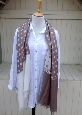 Dotted Scarf in Mocha - Feathers Of Italy