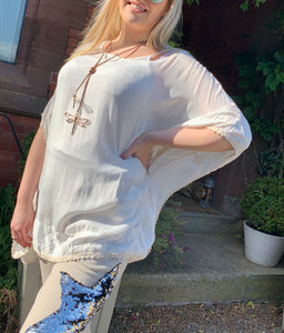 Vintage Silk Top in Vanilla With Embroidered Edge Detail With Under Top Cami - Feathers Of Italy