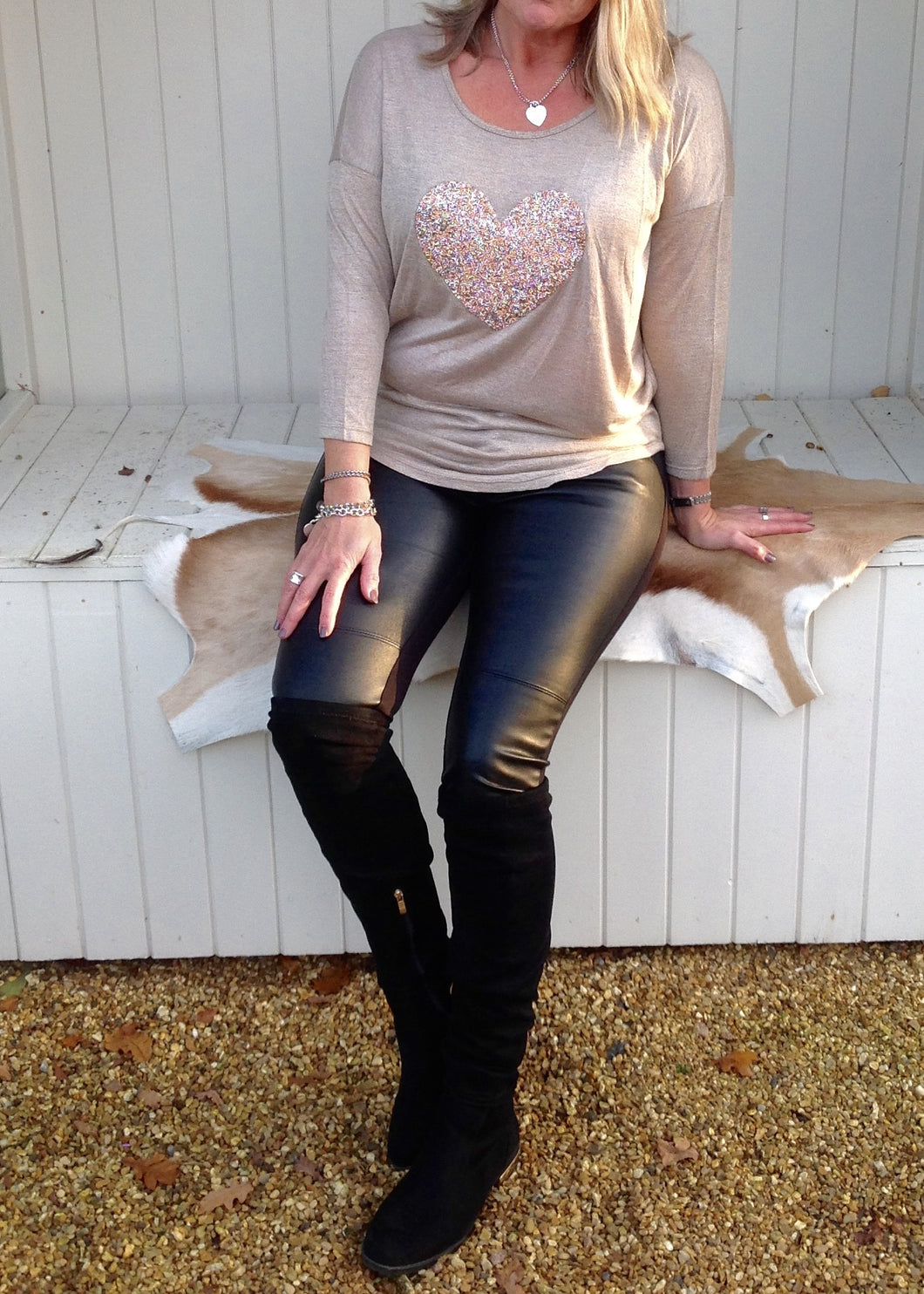 Sequin Heart T Shirt Top in Champagne Made In Italy By Feathers Of Italy One Size - Feathers Of Italy