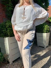 Load image into Gallery viewer, Vintage Silk Top in Vanilla With Embroidered Edge Detail With Under Top Cami - Feathers Of Italy