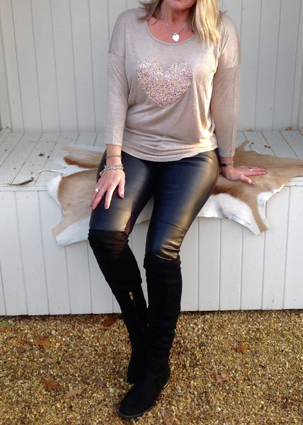 Sequin Heart T Shirt Top in Champagne Made In Italy By Feathers Of Italy One Size
