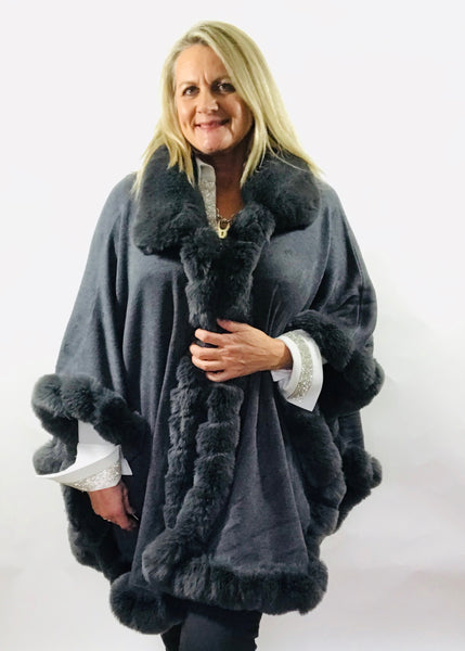 Limited Edition Luxury Grey Faux Fur Cape - Feathers Of Italy