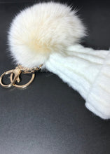 Load image into Gallery viewer, Limited Edition Bobble Hat Pom Pom Key Ring in Green or White - By Feathers Of Italy - Feathers Of Italy