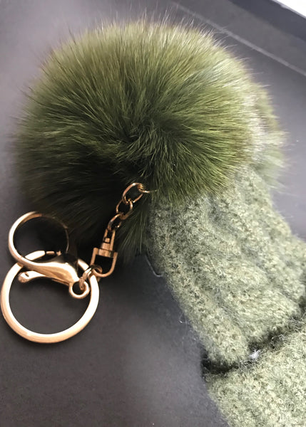 Limited Edition Bobble Hat Pom Pom Key Ring in Green or White - Feathers Of Italy
