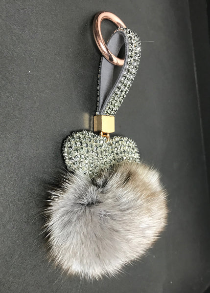 Limited Edition Heart Fur Key Ring in Grey or White Diamond Encrusted - Feathers Of Italy