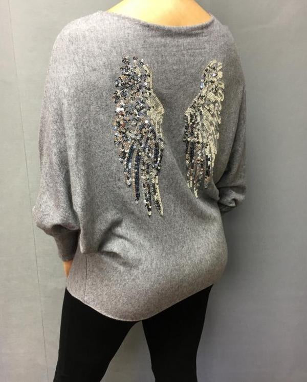Limited Edition Angora Angels Batwing Jumper In Grey Made In Italy By Feathers Of Italy - Feathers Of Italy