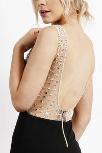 Low Back Sequin Dress in Black - Feathers Of Italy