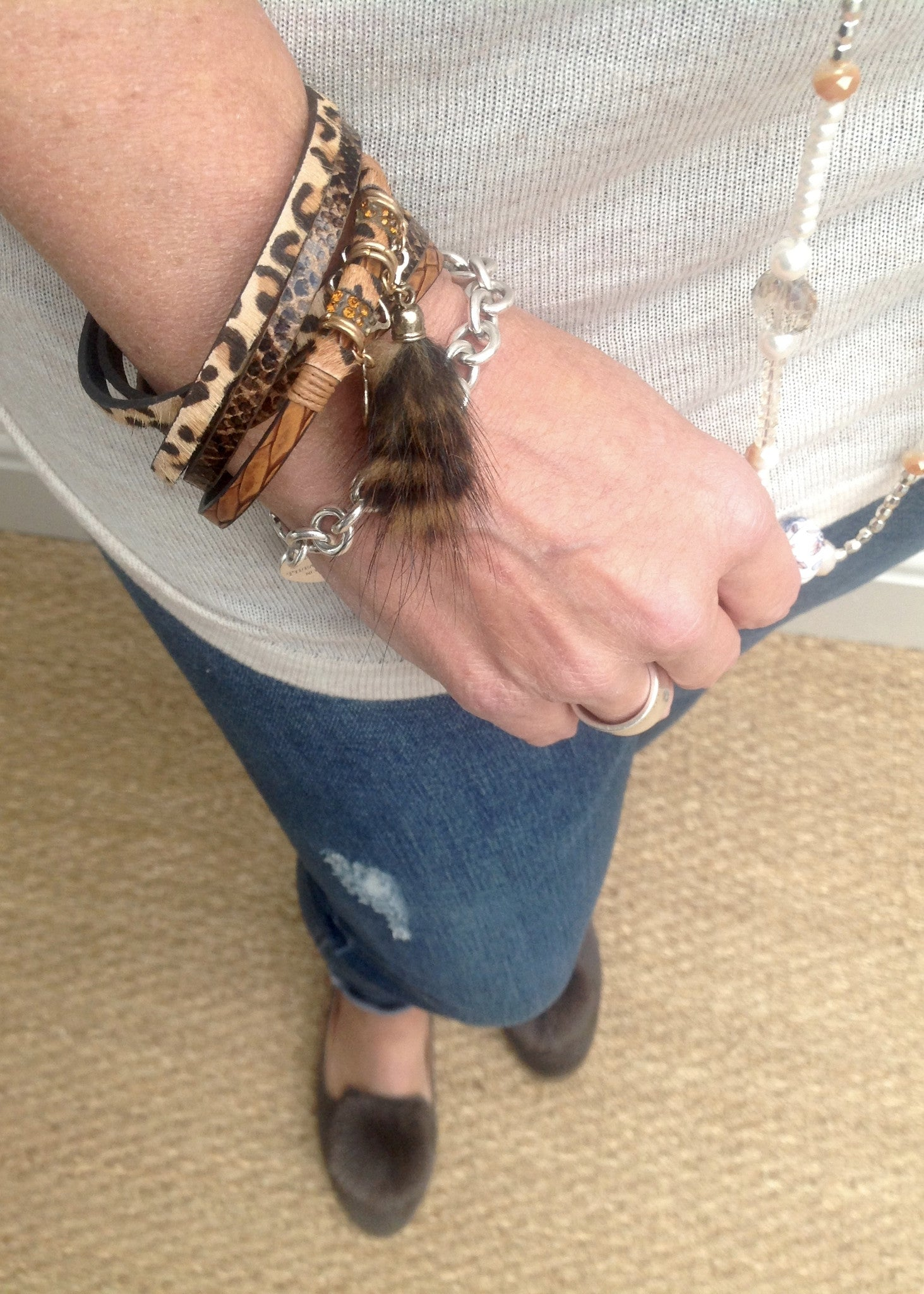 Leopard Print & Lucky Charm Bracelet in Various Colours - Feathers Of Italy