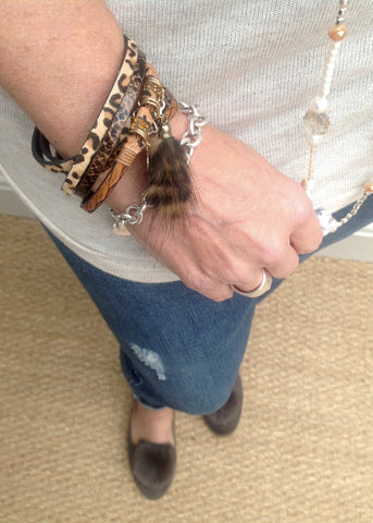 Leopard Print & Lucky Charm Double Wrap Bracelet in Caramels With Real Fur Tassel by Feathers Of Italy - Feathers Of Italy