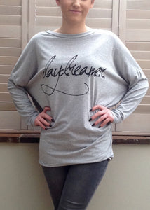 Long Sleaved T Shirt in Grey with wording Day Dreamer One Size Made In Italy By Feathers Of Italy - Feathers Of Italy